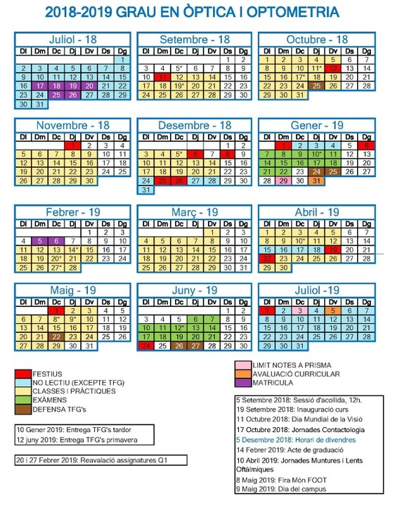 Calendario Catalunya 2019.Calendari Goo 2018 2019 Facultad De Optica Y Optometria De