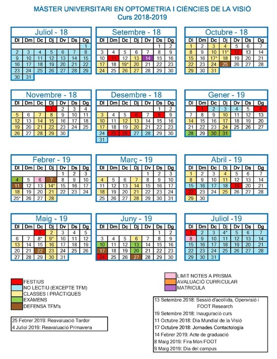 Calendario Catalunya 2019.Calendari Muocv 2018 2019 Facultad De Optica Y Optometria De